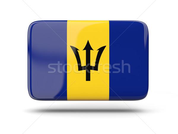 Stockfoto: Vierkante · icon · vlag · Barbados · schaduw · teken