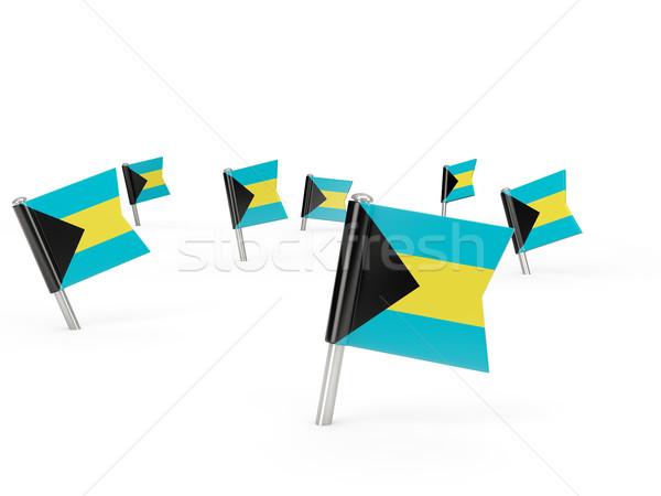 квадратный флаг Багамские острова изолированный белый стране Сток-фото © MikhailMishchenko
