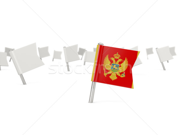 квадратный Pin флаг Черногория изолированный белый Сток-фото © MikhailMishchenko
