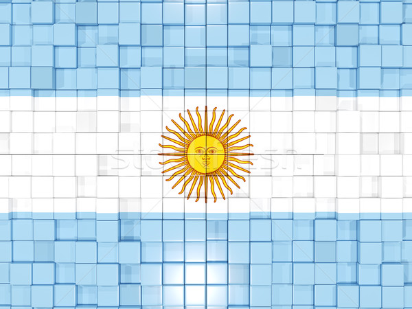 Background with square parts. Flag of argentina. 3D illustration Stock photo © MikhailMishchenko