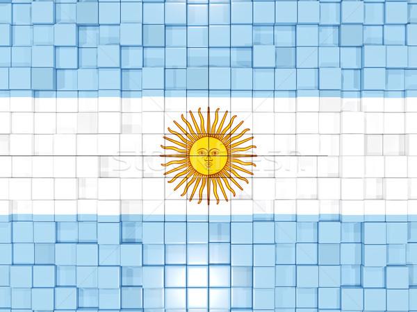 Tér alkatrészek zászló Argentína 3d illusztráció mozaik Stock fotó © MikhailMishchenko