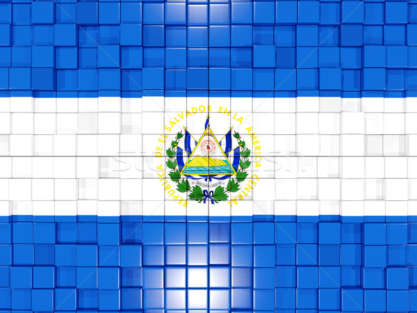 Background with square parts. Flag of el salvador. 3D illustrati Stock photo © MikhailMishchenko