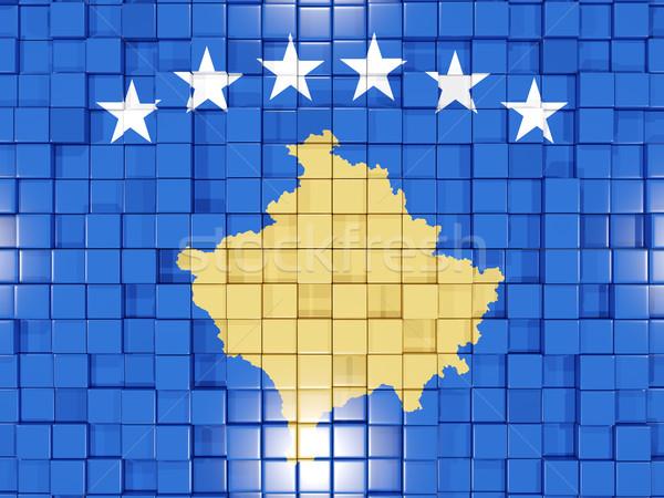 Background with square parts. Flag of kosovo. 3D illustration Stock photo © MikhailMishchenko