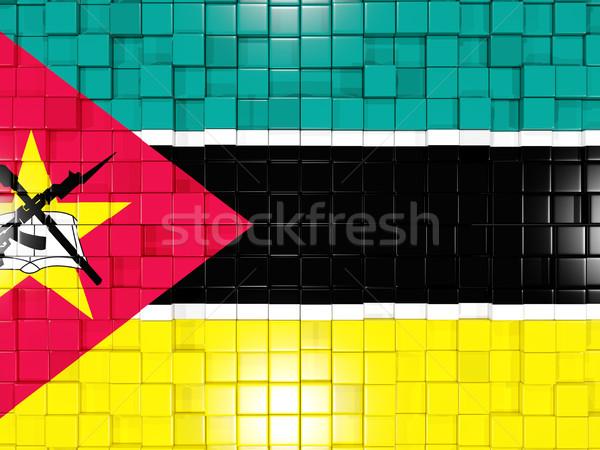 Background with square parts. Flag of mozambique. 3D illustratio Stock photo © MikhailMishchenko