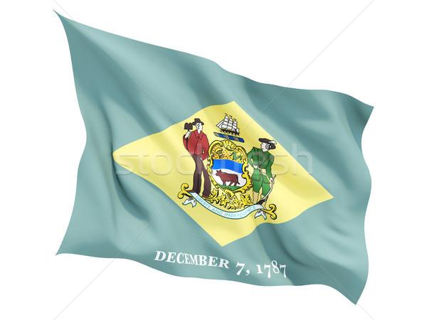 Stockfoto: Vlag · geïsoleerd · witte · 3d · illustration · wind