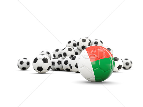 Football with flag of madagascar isolated on white Stock photo © MikhailMishchenko
