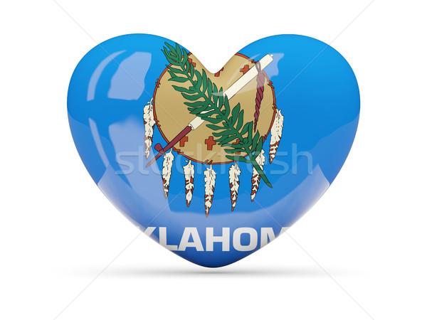 Vlag hart icon geïsoleerd witte 3d illustration Stockfoto © MikhailMishchenko