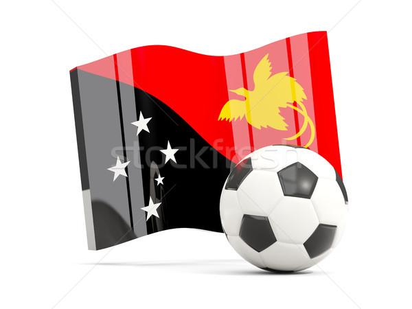 Futebol bandeira novo isolado branco Foto stock © MikhailMishchenko