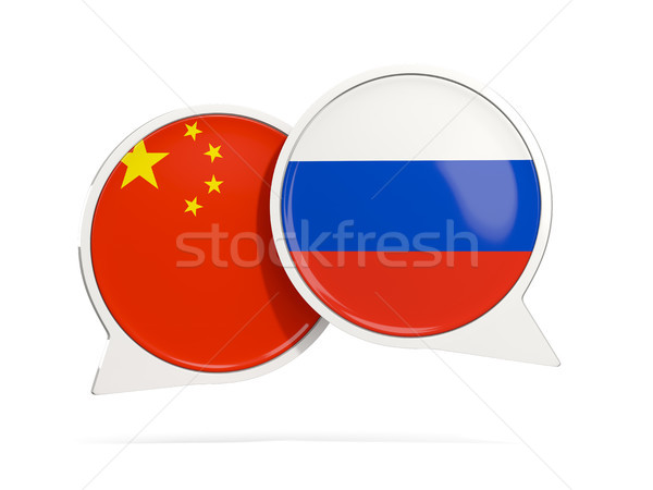 Chat bubbles of China and Russia isolated on white Stock photo © MikhailMishchenko