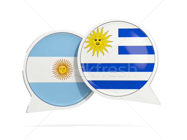 Chat bubbles of Argentina and Uruguay isolated on white Stock photo © MikhailMishchenko