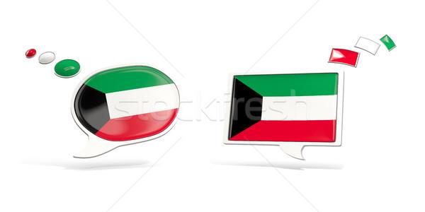 Dois conversar ícones bandeira Kuweit praça Foto stock © MikhailMishchenko
