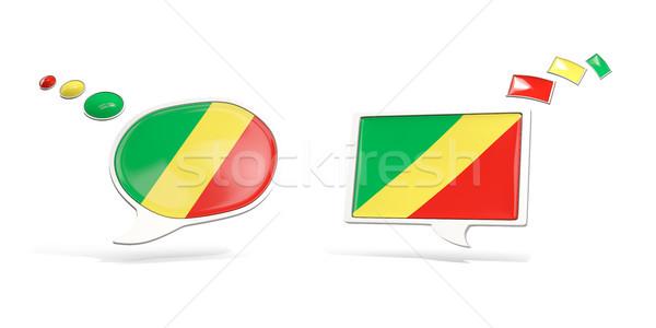Dwa chat ikona banderą republika Congo Zdjęcia stock © MikhailMishchenko
