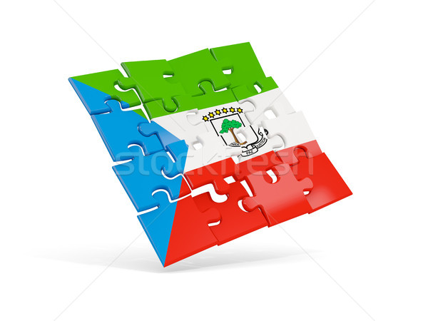 Puzzel vlag Equatoriaal-Guinea geïsoleerd witte 3d illustration Stockfoto © MikhailMishchenko