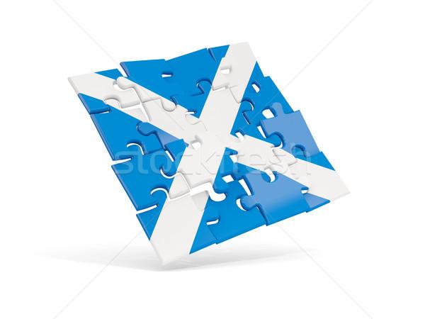 Quebra-cabeça bandeira escócia isolado branco ilustração 3d Foto stock © MikhailMishchenko