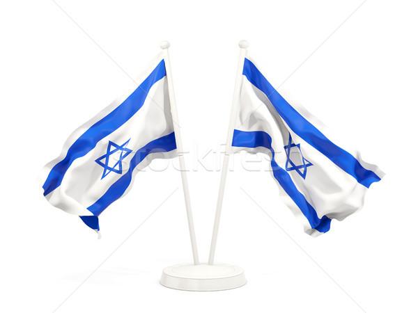 Deux drapeaux Israël isolé blanche Photo stock © MikhailMishchenko