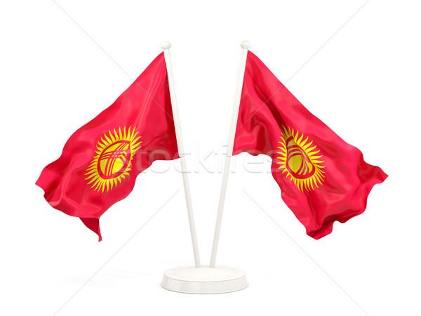 Iki bayraklar Kırgızistan yalıtılmış beyaz Stok fotoğraf © MikhailMishchenko