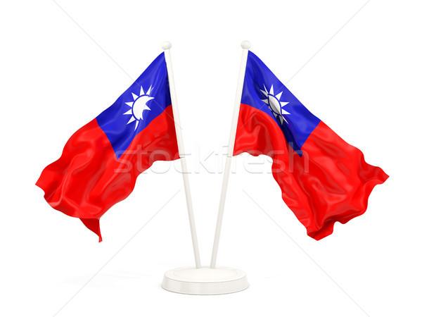 Iki bayraklar Tayvan yalıtılmış beyaz Stok fotoğraf © MikhailMishchenko
