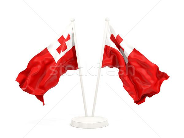 Two waving flags of tonga Stock photo © MikhailMishchenko