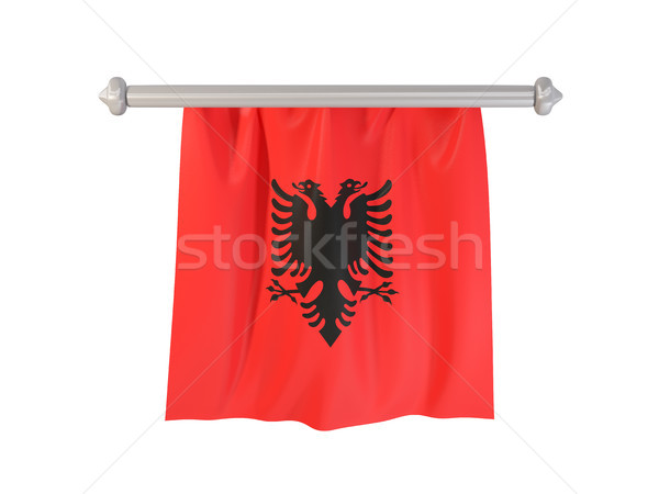 Bandeira Albânia isolado branco ilustração 3d etiqueta Foto stock © MikhailMishchenko
