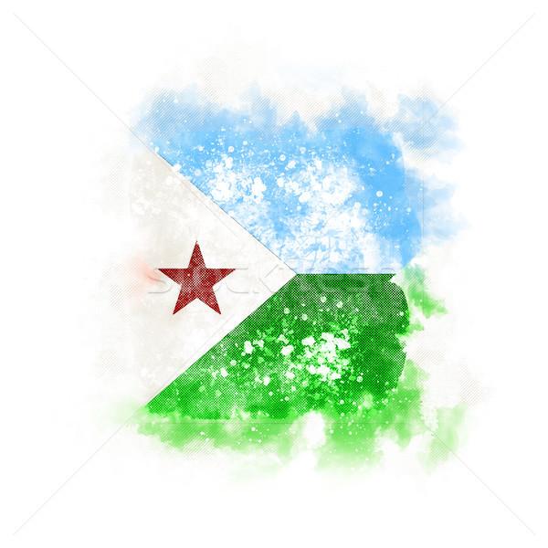 квадратный Гранж флаг Джибути 3d иллюстрации ретро Сток-фото © MikhailMishchenko