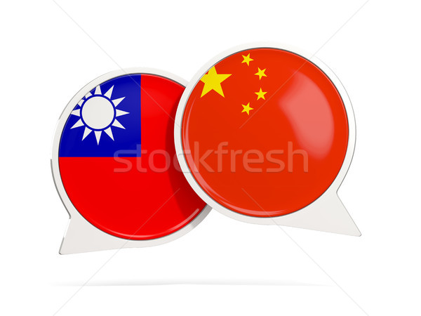 Chat bubbles with flags of China and Taiwan Stock photo © MikhailMishchenko