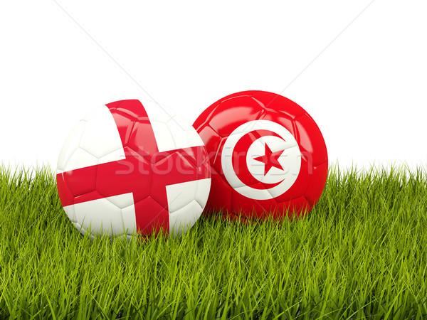 Engeland vs Tunesië voetbal vlaggen groen gras Stockfoto © MikhailMishchenko