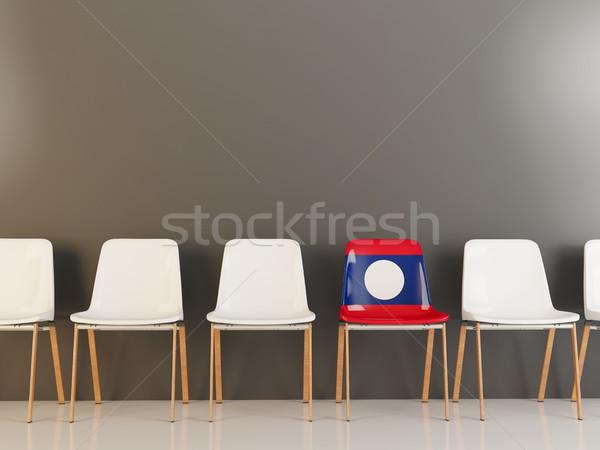 Stoel vlag Laos rij witte stoelen Stockfoto © MikhailMishchenko