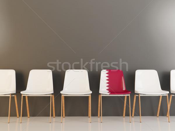 Cadeira bandeira Catar branco cadeiras Foto stock © MikhailMishchenko