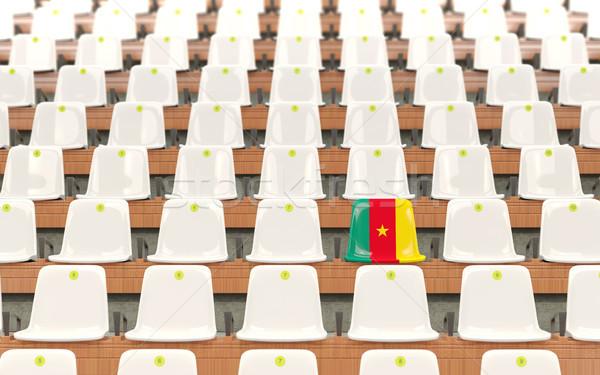 Stadion zitting vlag Kameroen rij witte Stockfoto © MikhailMishchenko