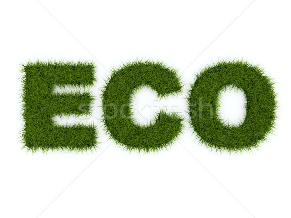 Eco signe herbe isolé blanche nature Photo stock © MikhailMishchenko