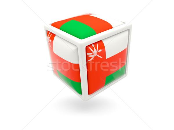 Foto stock: Bandeira · Omã · cubo · ícone · isolado · branco