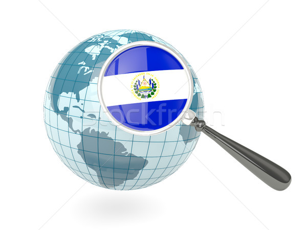 Magnified flag of el salvador with blue globe Stock photo © MikhailMishchenko