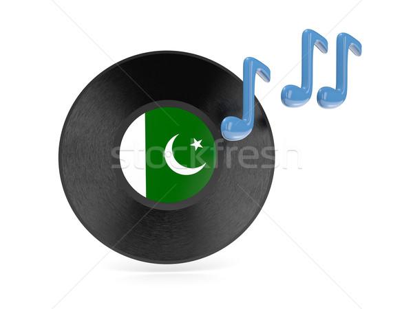 Vinyl schijf vlag Pakistan geïsoleerd witte Stockfoto © MikhailMishchenko