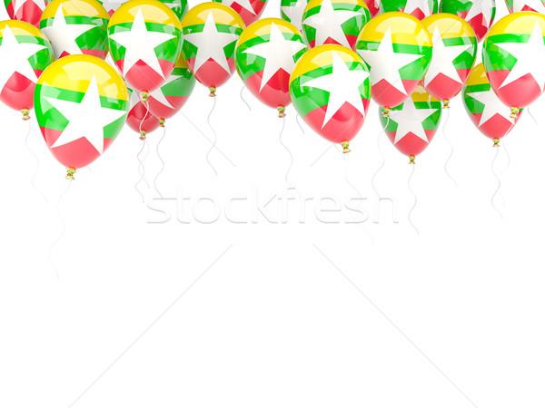 Léggömb keret zászló Myanmar izolált fehér Stock fotó © MikhailMishchenko