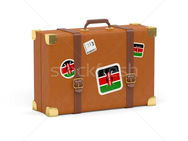 Valise pavillon Kenya Voyage isolé blanche Photo stock © MikhailMishchenko