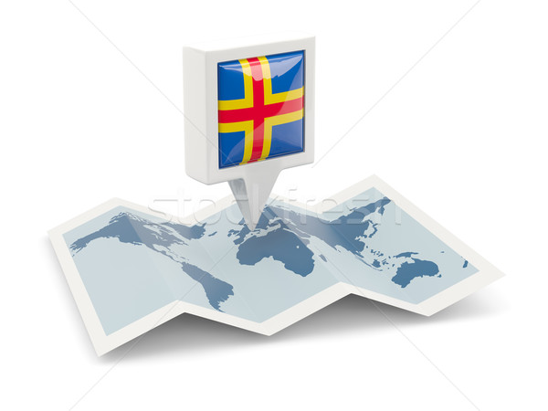 Square pin with flag of aland islands on the map Stock photo © MikhailMishchenko