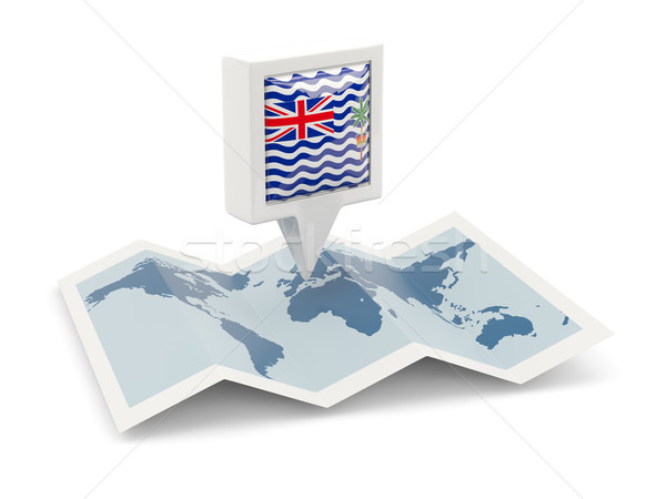 Square pin with flag of british indian ocean territory on the ma Stock photo © MikhailMishchenko