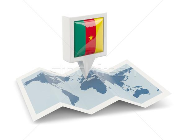 Placu pin banderą Kamerun Pokaż podróży Zdjęcia stock © MikhailMishchenko