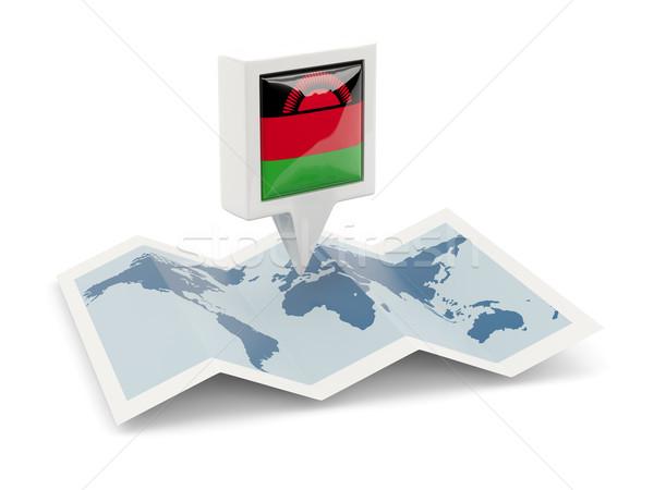 Vierkante pin vlag Malawi kaart reizen Stockfoto © MikhailMishchenko