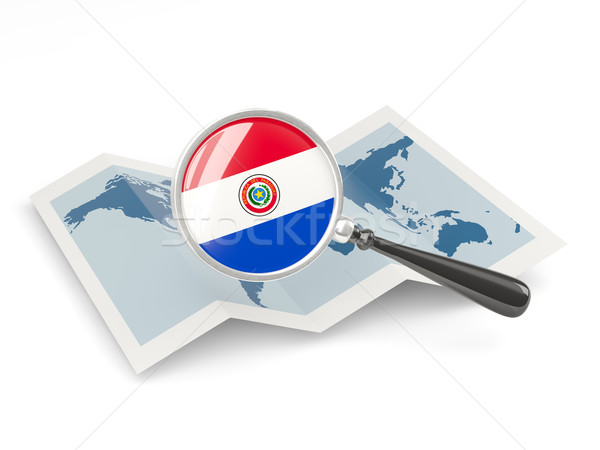 Magnified flag of paraguay with map Stock photo © MikhailMishchenko