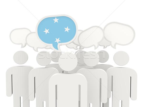 Pessoas bandeira Micronésia isolado branco reunião Foto stock © MikhailMishchenko