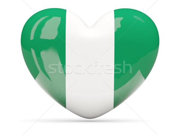 Kalp ikon bayrak Nijerya yalıtılmış Stok fotoğraf © MikhailMishchenko