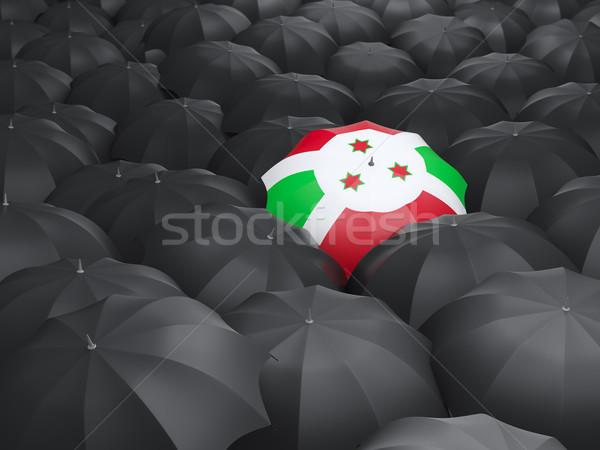 Guarda-chuva bandeira Burundi preto guarda-chuvas chuva Foto stock © MikhailMishchenko