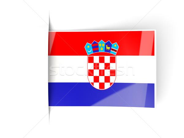Cuadrados etiqueta bandera Croacia aislado blanco Foto stock © MikhailMishchenko