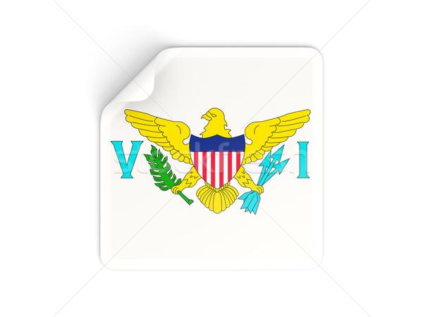 квадратный наклейку флаг США Виргинские о-ва изолированный Сток-фото © MikhailMishchenko