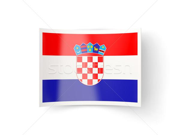 ícone bandeira Croácia isolado branco país Foto stock © MikhailMishchenko