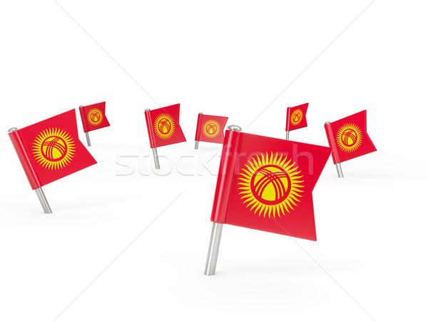 Kare bayrak Kırgızistan yalıtılmış beyaz ülke Stok fotoğraf © MikhailMishchenko