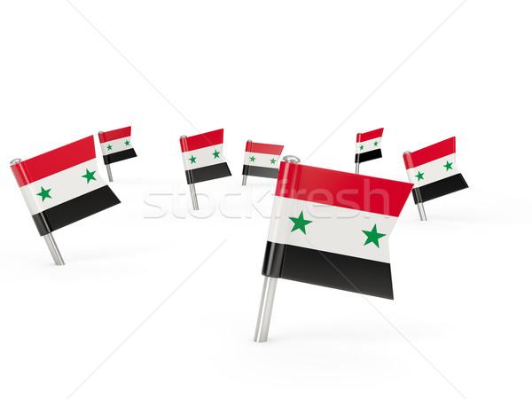 Praça bandeira Síria isolado branco país Foto stock © MikhailMishchenko