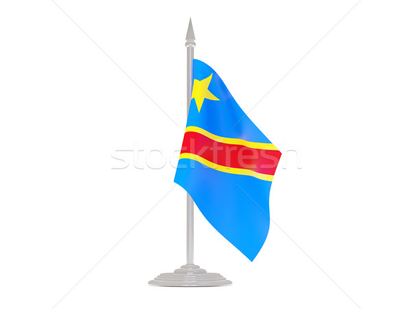 Flag of democratic republic of the congo with flagpole. 3d rende Stock photo © MikhailMishchenko