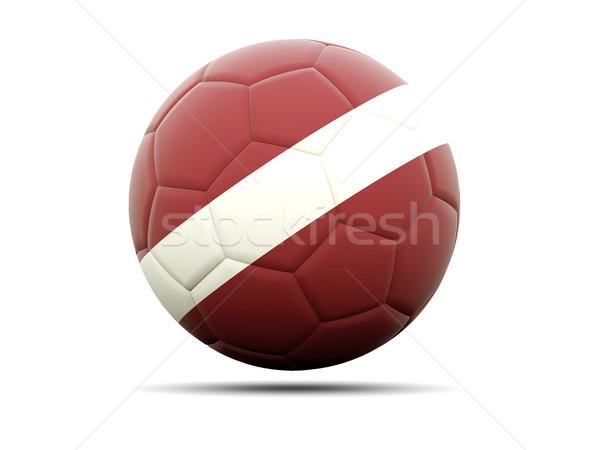 Voetbal vlag Letland 3d illustration voetbal sport Stockfoto © MikhailMishchenko